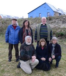 Scotland, Findhorn, 2015, March 16 group of people in dunes: Board of directors of Duneland Ltd (NFA organisation) : from left to right: back row (in blue jacket) Alex Walker, account admin Nikki Taylor, Managing Director John Gordon, front row fltr: Bruce Wallace, Joan Wilmot, Lori Wallace (front right) missing on photo: Eian Smith (chair) John Buck (USA), Stephen Neall