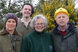 Scotland, Findhorn, 2015, March 19 group of people: Board of directors of Ekopia: from left: Francine Rietberg, Eian Smith, Carin Schwarz and (with yellow helmet) Alex Walker.  (Some board members are not on the photo)